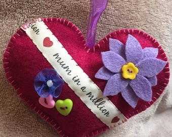 Handmade Mother's Day felt heart