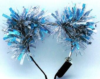 Elsa Sparkle Kittycorn Ears (LED Optional), LED Cat Ears, Christmas Cat Ears, Light up kitty ears, Tinsel Cat Ears