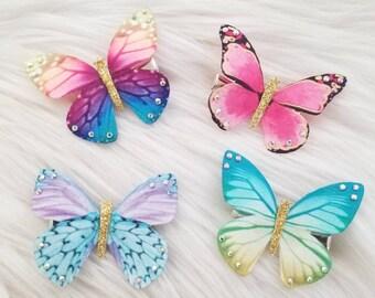 White and Gold Butterfly Hair Pins:  Fairy Kei Hair Clip 90s Sweet Lolita Y2K DDLG Bridal Hair Pin Kawaii Hair Accessories