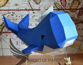 printable DIY pdf template Happy Whale papercraft