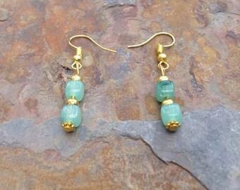 Jade & gold dangle earrings