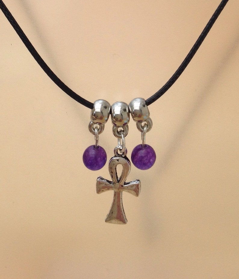 Russian Amethyst beads gift Egyptian cross jewellery Ankh necklace and earring set