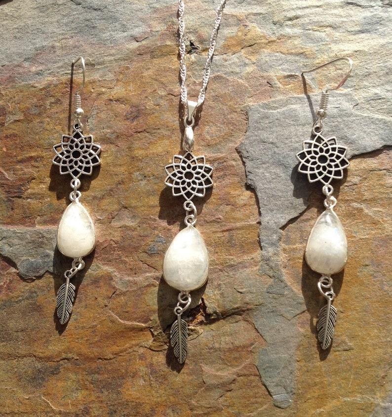 Moonstone jewellery set christmas jewellery gift for her earrings and necklace