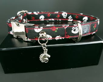 Dog collar - ' Skull & roses.