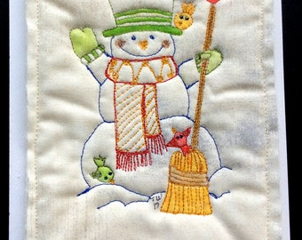 Quilted Christmas Card - Jolly Snowman - Mini Quilt