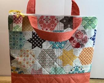 Quilted Cross Stitch Flat Bottom Project Bag Lori Holt Flea Market Print