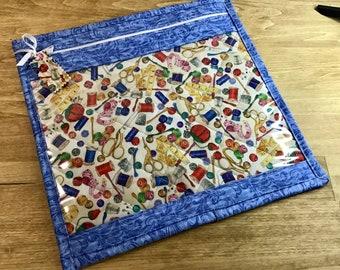Cross Stitch Vinyl Front Project Bag Vinyl Spools & Thread Cross Stitch Fabric Handwork Projects
