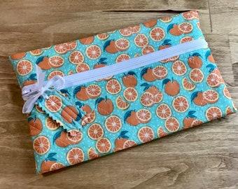 Project Partner Quilted Zipper Bag Cross Stitch Celebrating Oranges