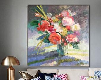 Pink flower painting etsy original oil painting flowers painting large abstract flowers canvas art large canvas art paintings on canvas pink flower painting mightylinksfo