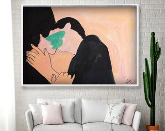 Erotic Art Kiss Painting On Canvas,painting kiss,gift for Valentine's Day,gift for him,love paint,kiss,modern,modern art