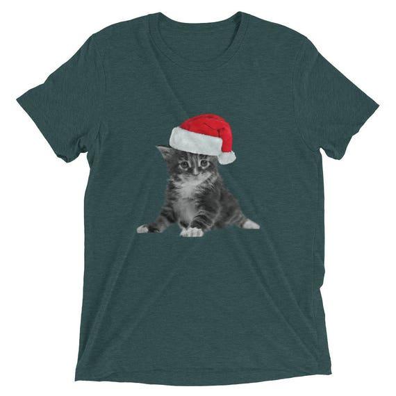 cat christmas shirt for men or womencute christmas cat t shirtshort sleeve t shirtfunny christmas catmeowy christmascat loverlady