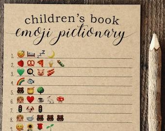 Children's Book Emoji Pictionary, Baby Shower Emoji Pictionary, Emoji Pictionary, Gender Neutral, Baby Shower Games, Woodsy, Woodland,Rustic