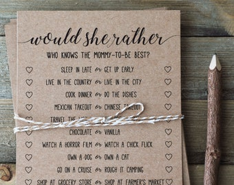 Would She Rather Baby Shower Game . Would She Rather . Who Knows Mommy Best . Baby Shower Games . Rustic Baby Shower . Activity