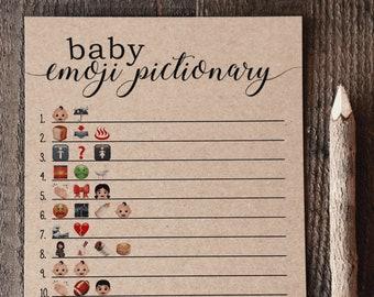 Baby Shower Emoji Pictionary, Baby Emoji Pictionary Baby Shower Game, Gender Neutral, Baby Shower Games, Woodsy, Woodland, Rustic, Kraft