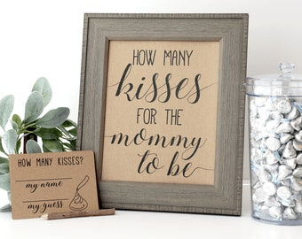 Guess How Many Kisses . Guess How Many Kisses for the Mommy to Be . How Many Kisses for the Mom to Be . Baby Shower Games