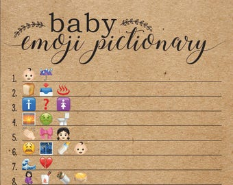 Baby Shower Emoji Pictionary, Emoji Pictionary Kraft Paper Shower Game, Gender Neutral, Baby Shower Games, Woodsy, Woodland, Rustic, Kraft