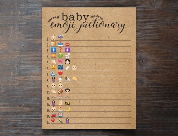 Baby Shower Emoji Pictionary Emoji Pictionary Kraft Paper ...