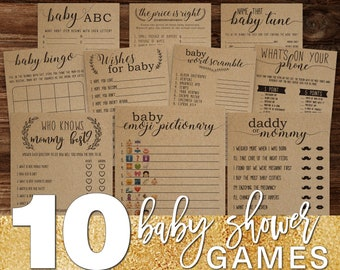 10 Baby Shower Game Bundle . Baby Shower Games . Baby Shower Ideas . Daddy or Mommy, Baby Emoji Pictionary, Who Knows Mommy Best, Baby Bingo
