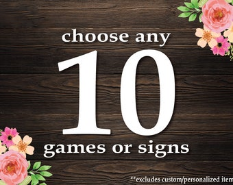 Choose Any 10 Games or Signs in my Shop! Baby Shower Games Package . Bundle 10 Games . **CUSTOMIZED Games not included. Rustic Baby Shower.