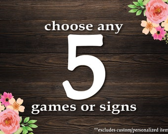 Choose Any 5 Games or Signs in my Shop! Baby Shower Games Package . Bundle 5 Games . **CUSTOMIZED Games not included.