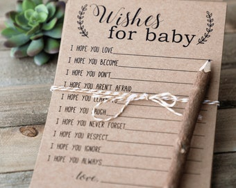 Baby Wish Cards, Wishes for Baby Cards, Baby Advice Printable Instant Download, Baby Shower Games, Baby Shower Activities