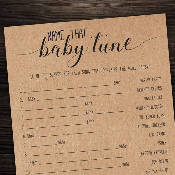 Name That Baby Tune Name The Baby Song Baby Shower Games Etsy