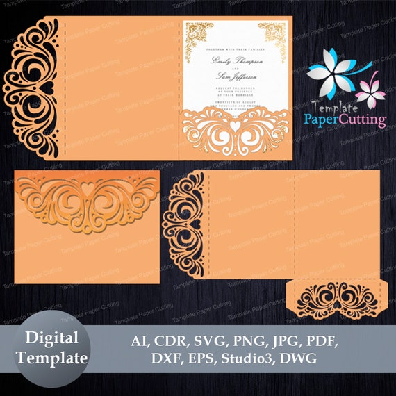 Tri Fold Wedding Invitation Pocket Envelope Svg Template Etsy