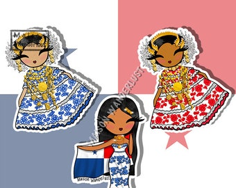 Pollera, panamian traditional outfit - Panama, Central America   Sticker or Magnet
