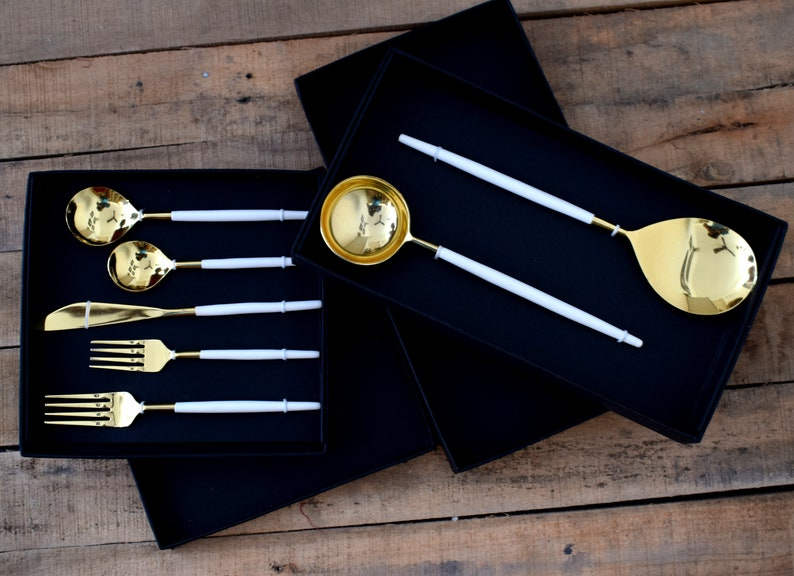 4X Edelstahl Rose Gold Besteck Geschirr Gabel Löffel Sbendessen  S+