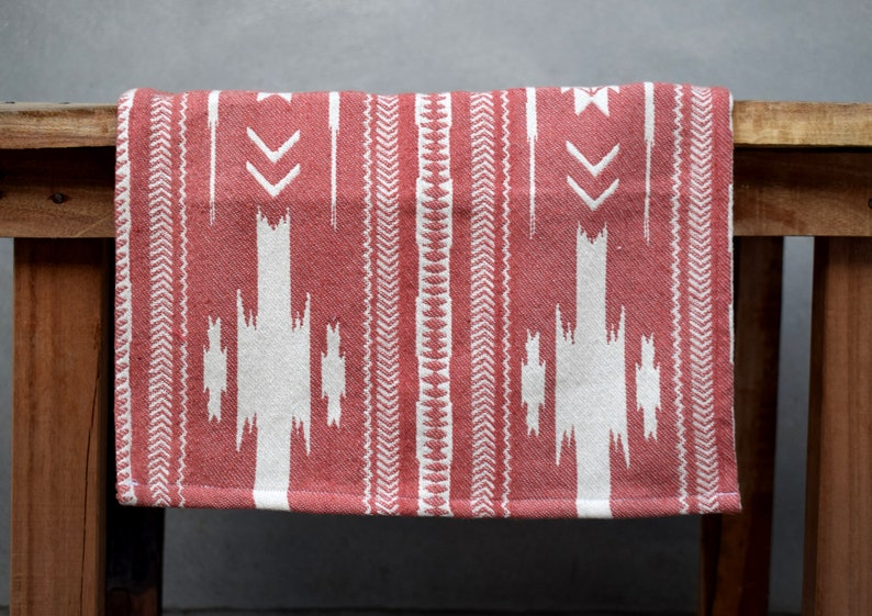 handmade Jacquard Weave Can be used both side Attractive Coral Weaved Table runner Sizes :13x36 inches Center Table kilim weave