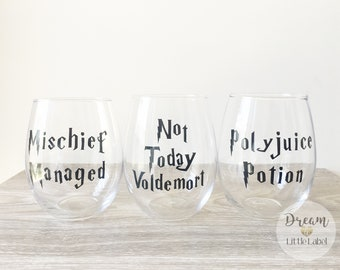 Harry Potter Quotes, Customised Vinyl Wine Glass Labels.  Pop Culture.  Choice of colour. Or fully customised.