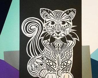 Original handmade papercut, handcutted artwork 'Cat'