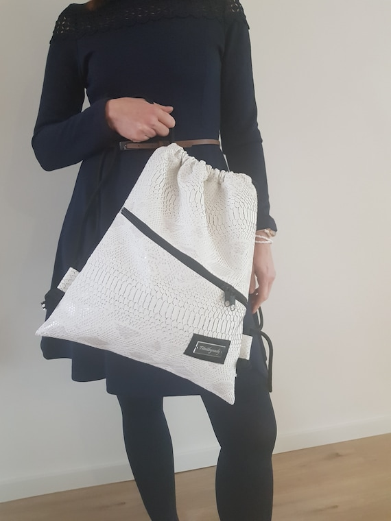 For Women Backpack Laptop Bag Travel Bags Drawstring Backpack Cute Backpack Ideas Birthday Gift for Her Bag Pink Snake Handmade