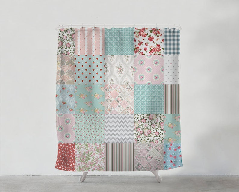 Delicate Patchwork Shower Curtain Bathroom Art Bohemian