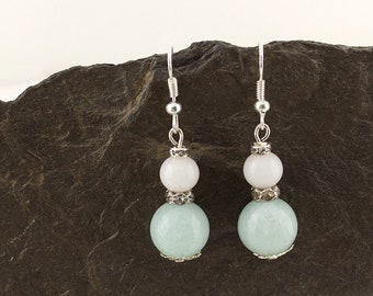 Earrings Gemstone Amazonite silver with crystal glass
