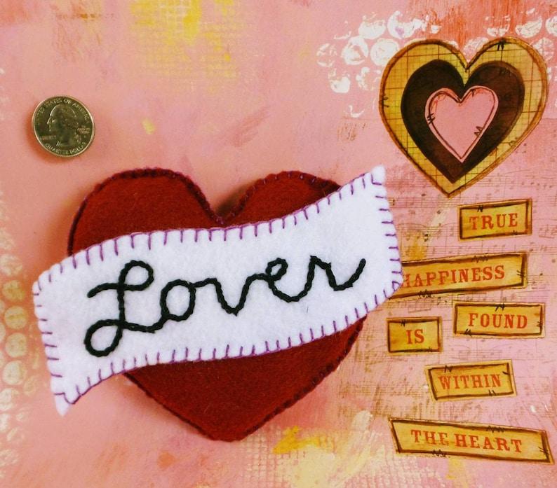 Handmade Red  White Valentine's Pillow // Secret Pocket image 0