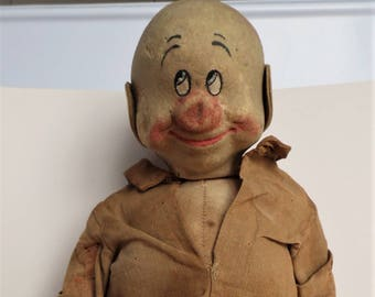1930's large straw Dopey Doll by Chad Valley, from snow white and the seven dwarves.