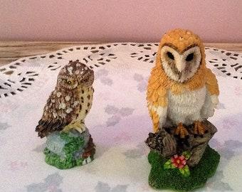 Pottery owls, small pair, barn owl, vintage ornamental birds