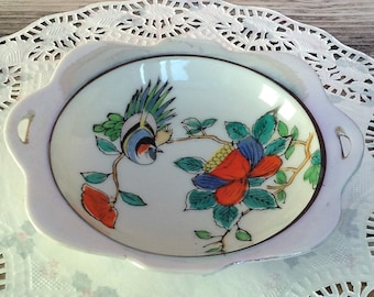 Japanese trinket dish with birds and flowers pot dish.