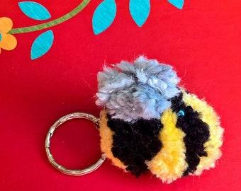 Bag Charm, small bee pom pom
