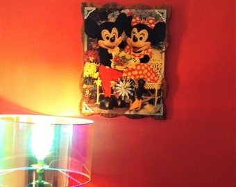 Disney Mickey and Minnie mouse retro wall clock wooden, vintage