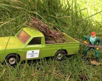 Vintage, 1970s Corgi Pickup and workman, clumber park. national trust.