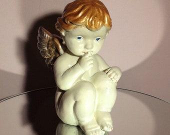Retro, ornament, cherub, giftides, room decor, home decor, unusual, gifts, sitting cherub, collectables, fairytale gifts