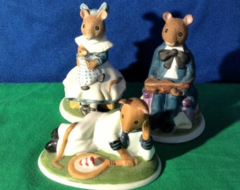 Figurines, Franklin mint mice, Lucinda, Sebastian and Harold. 85 FP. Woodmouse,