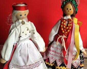 Wooden Dolls of the world, National costume, national dress,handcrafted,vintage dolls,