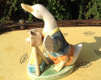 Figurine, Glazed porcelain duck, photography, camera, Peter rabbit beatrix potter style,vintage