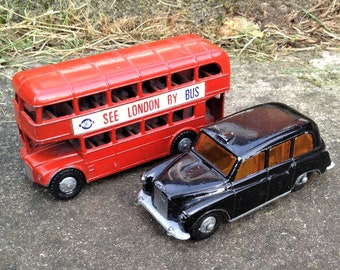 London Bus and black taxi, Vintage toys, Lone Star,