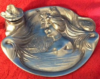 Art Nouveau Inkwell, Antique, signed n vidal, metal dish.