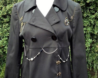 Womens Steampunk clothing, Jacket  size 12/14 Upcycled, Fashion, victorian style, gift,owl cogs