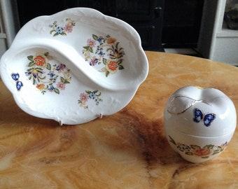 Trinket pot, ring dish, Aynsley Cottage Garden,bone china, made in England.